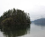 A view from Jug Island Beach looking past the island, north into Indian Arm