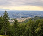 A view of Abbotsford from the clearing along the Ledgeview Trails