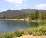 The view of the day-use area from the across Lightning Lake in Manning Provincial Park