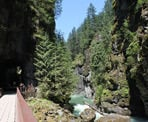 The Coquihalla River can be seen in the canyon alongside the bridges near Othello Tunnels