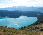 The view of Garibaldi Lake from the top of Panorama Ridge in Garibaldi Provincial Park