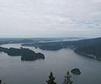 One of the first views from the Sendero Diez Vistas trail looking towards Indian Arm and the city of Vancouver