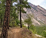 The trail to the Seton Lake Lookout passes along a cliff with a view