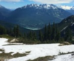A view looking down towards Green Lake near Whistler from high up on the Skyline North Trail