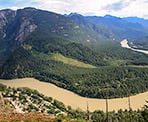 The spectacular view of the Fraser River from the Spirit Caves Trail in Yale, BC