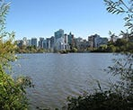 A view of Lost Lagoon and the water fountain on the edge of downtown Vancouver