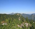 The view of the backcountry behind Grouse Mountain from the Thunderbird Ridge trail