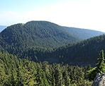 View of the backcountry mountain ranges behind Grouse Mountain