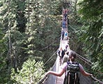 The Lynn Canyon Suspension Bridge over Lynn Creek in North Vancouver