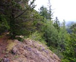 The rocky section of trail near the top of Vedder Mountain in Chilliwack