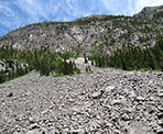 One of the rock slides near the trail to Wedgemount Lake