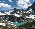 The scenic view of Wedgemount Lake in Garibaldi Provincial Park, north of Whistler, BC