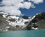 The glacier at the far end of Wedgemount Lake in Garibaldi Provincial Park